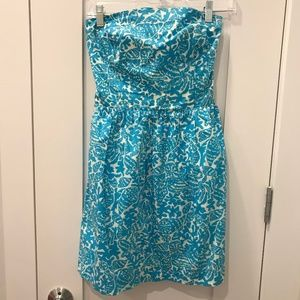 Lilly Pulitzer Blue Seashell Strapless Dress
